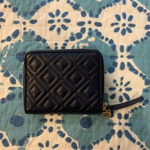 Tory Burch Fleming Medium Leather Wallet - NAVY